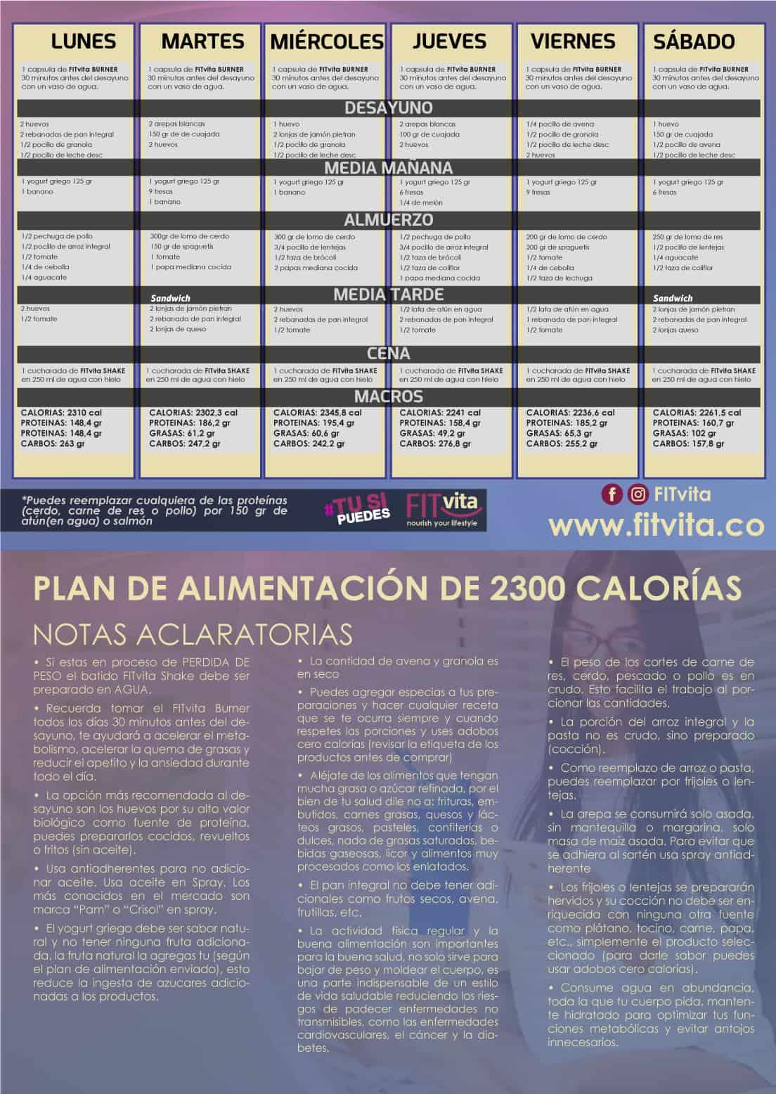 plan de alimentación de 2300 calorías - FITvita